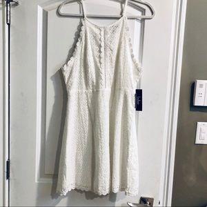 Lulu's white eyelet mini dress NWT sz L
